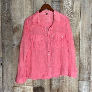Kut from the Kloth Pink Abalone Pearl Button Down